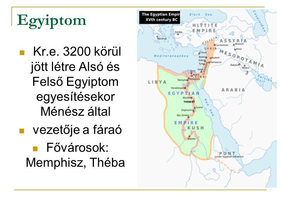 Egyiptom Kr.e. 3200 körül jött létre Alsó és Felső Egyiptom egyesítésekor Ménész által vezetője a fáraó Fővárosok: Memphisz, Théba