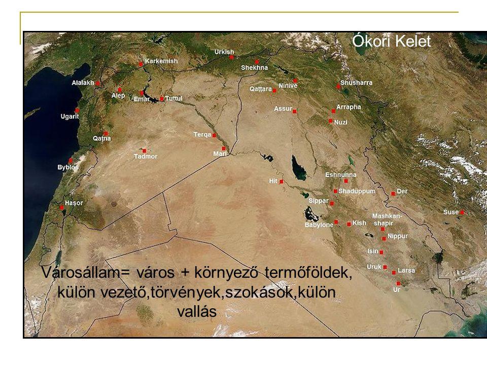 Városállam= város + környező termőföldek, külön vezető,törvények,szokások,külön vallás Ókori Kelet