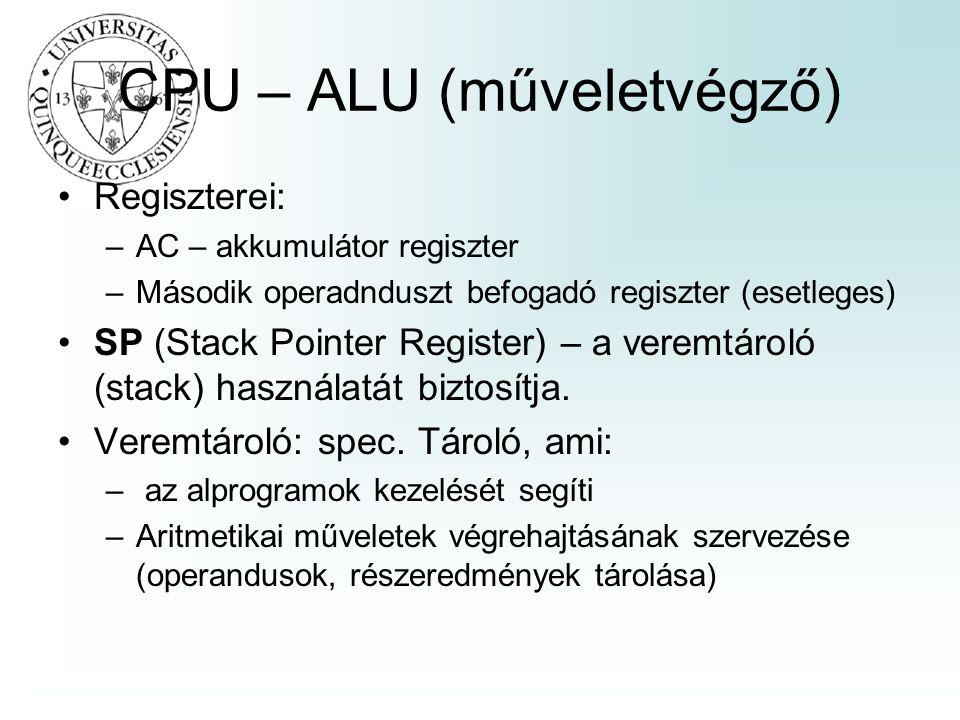 CPU – ALU (műveletvégző) Regiszterei: –AC – akkumulátor regiszter –Második operadnduszt befogadó regiszter (esetleges) SP (Stack Pointer Register) – a veremtároló (stack) használatát biztosítja.