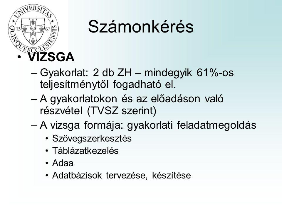 Számonkérés VIZSGA –Gyakorlat: 2 db ZH – mindegyik 61%-os teljesítménytől fogadható el.
