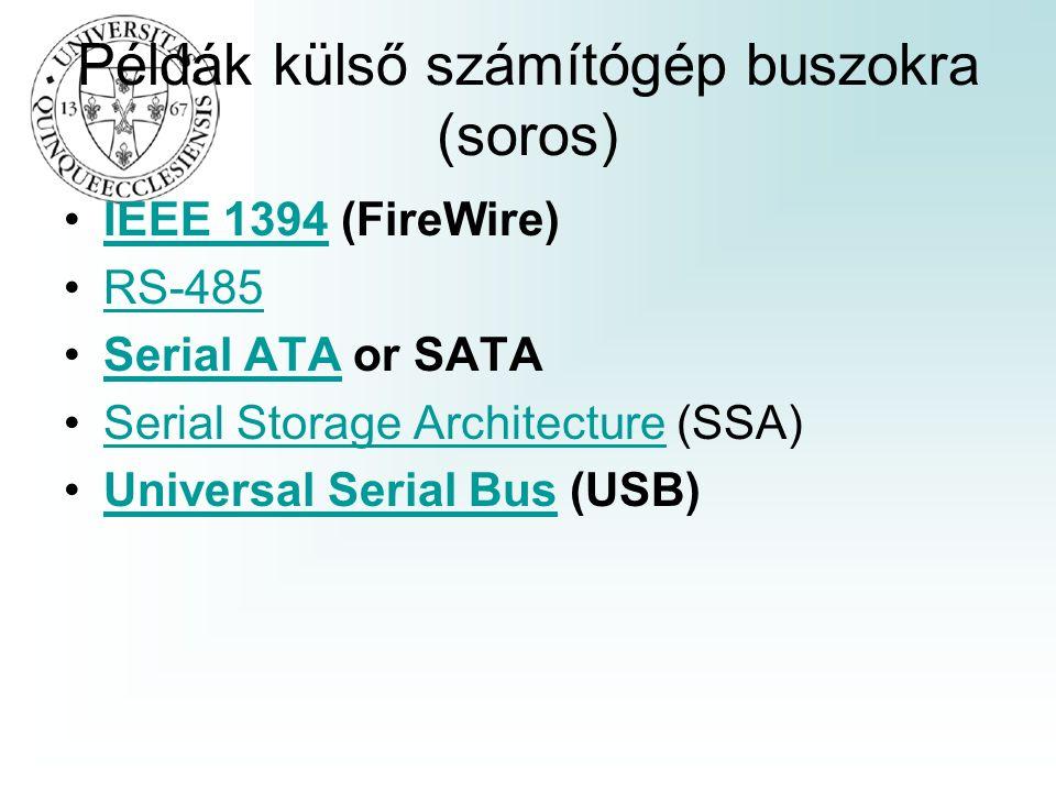 Példák külső számítógép buszokra (soros) IEEE 1394 (FireWire)IEEE 1394 RS-485 Serial ATA or SATASerial ATA Serial Storage Architecture (SSA)Serial Storage Architecture Universal Serial Bus (USB)Universal Serial Bus