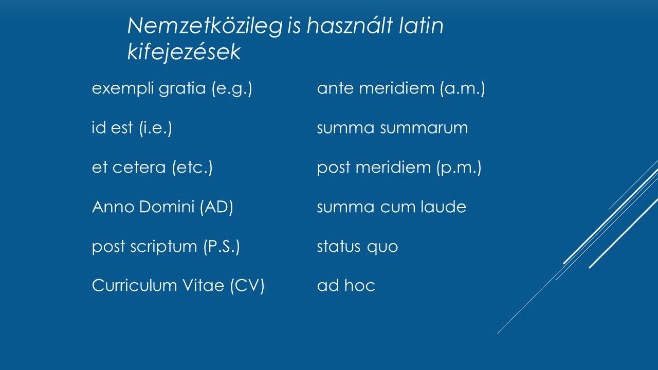 exempli gratia (e.g.) id est (i.e.) et cetera (etc.) Anno Domini (AD) post scriptum (P.S.) Curriculum Vitae (CV) ante meridiem (a.m.) summa summarum post meridiem (p.m.) summa cum laude status quo ad hoc Nemzetközileg is használt latin kifejezések