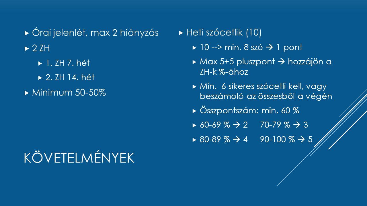 KÖVETELMÉNYEK  Órai jelenlét, max 2 hiányzás  2 ZH  1. ZH 7. hét  2. ZH 14. hét  Minimum 50-50%  Heti szócetlik (10)  10 --> min. 8 szó  1 pon