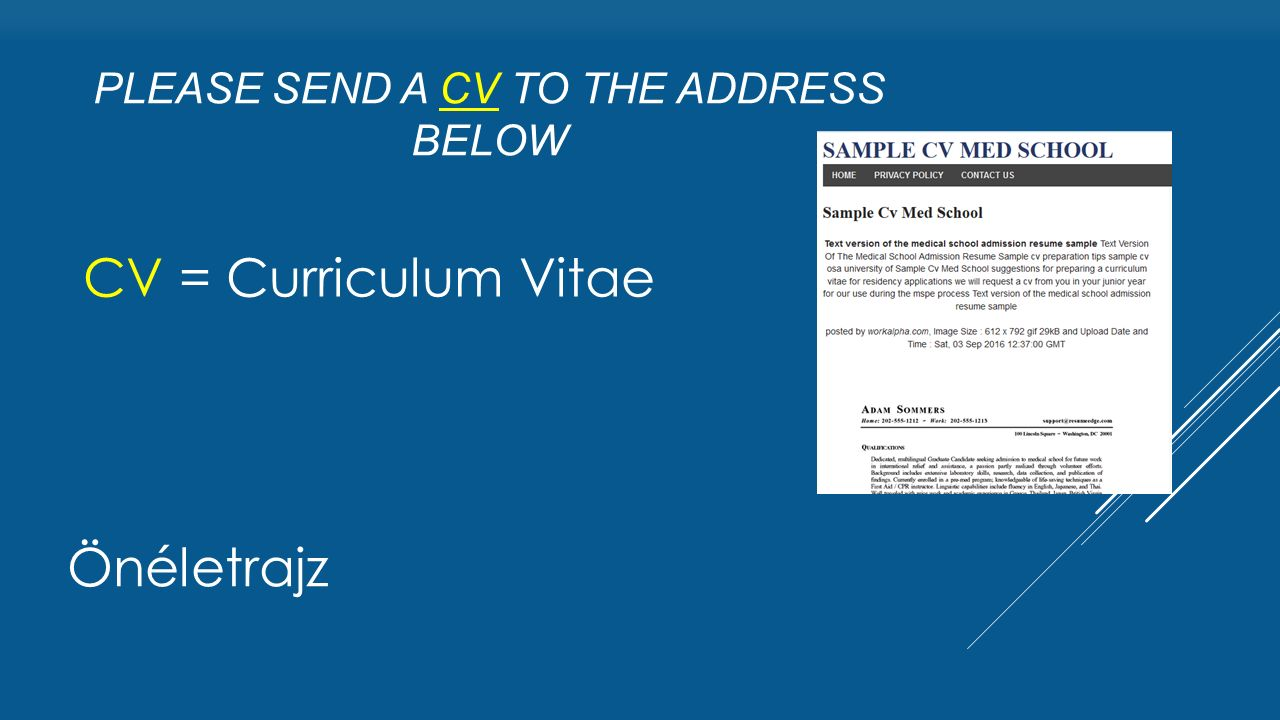 CV = Curriculum Vitae PLEASE SEND A CV TO THE ADDRESS BELOW Önéletrajz