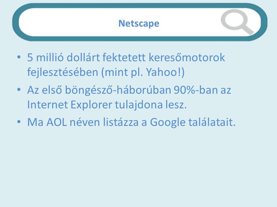 Netscape 5 millió dollárt fektetett keresőmotorok fejlesztésében (mint pl.