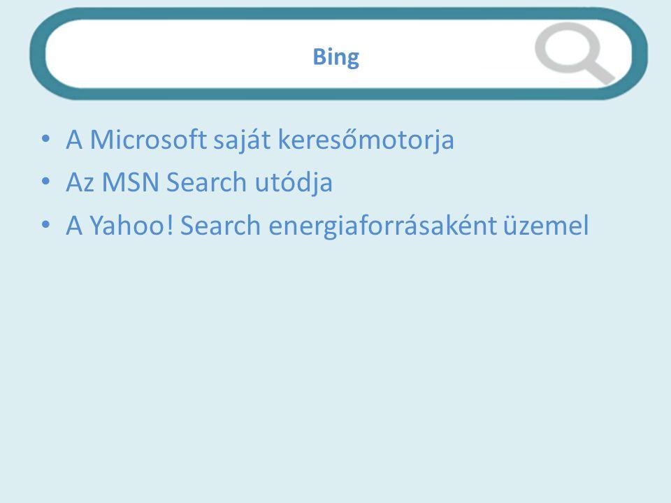 Bing A Microsoft saját keresőmotorja Az MSN Search utódja A Yahoo! Search energiaforrásaként üzemel