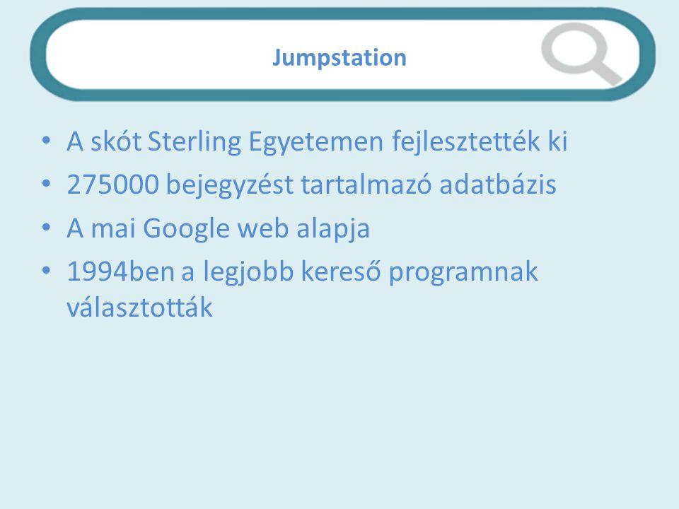 Jumpstation A skót Sterling Egyetemen fejlesztették ki 275000 bejegyzést tartalmazó adatbázis A mai Google web alapja 1994ben a legjobb kereső programnak választották