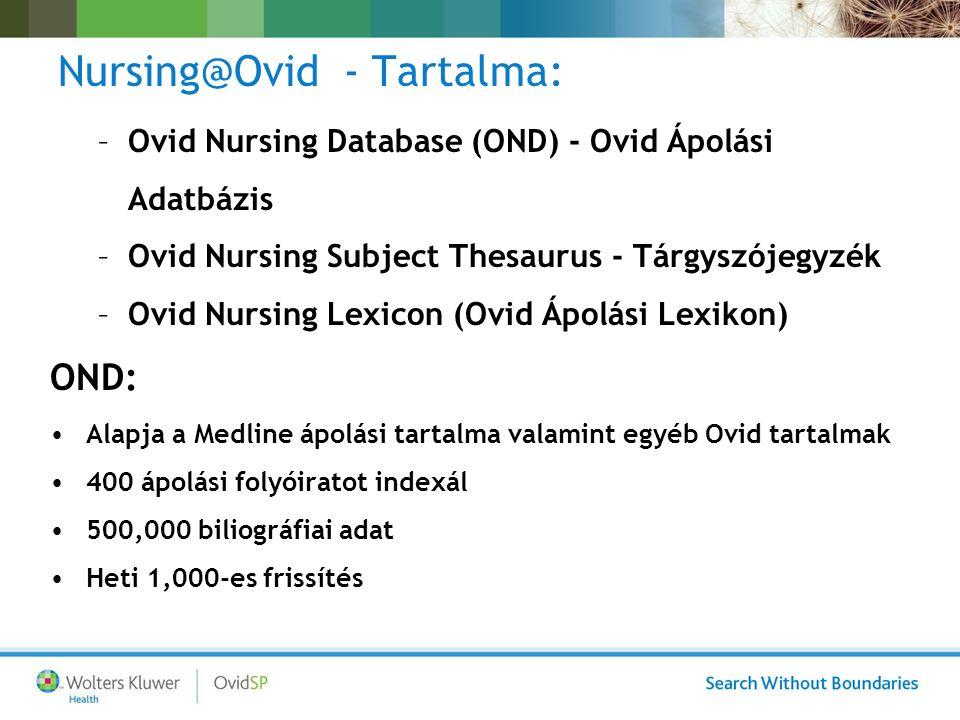Nursing@Ovid - Tartalma: –Ovid Nursing Database (OND) - Ovid Ápolási Adatbázis –Ovid Nursing Subject Thesaurus - Tárgyszójegyzék –Ovid Nursing Lexicon (Ovid Ápolási Lexikon) OND: Alapja a Medline ápolási tartalma valamint egyéb Ovid tartalmak 400 ápolási folyóiratot indexál 500,000 biliográfiai adat Heti 1,000-es frissítés