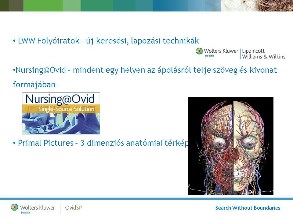 LWW Folyóiratok – új keresési, lapozási technikák Nursing@Ovid – mindent egy helyen az ápolásról telje szöveg és kivonat formájában Primal Pictures – 3 dimenziós anatómiai térkép