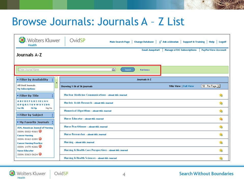 4 Browse Journals: Journals A – Z List