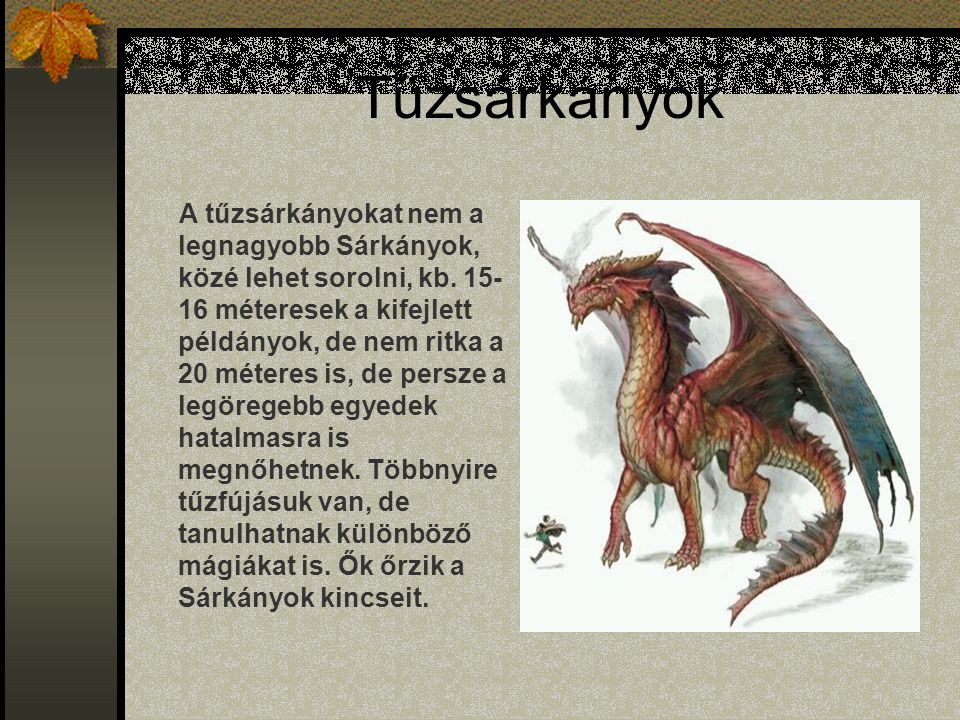 Tűzsárkányok A tűzsárkányokat nem a legnagyobb Sárkányok, közé lehet sorolni, kb.