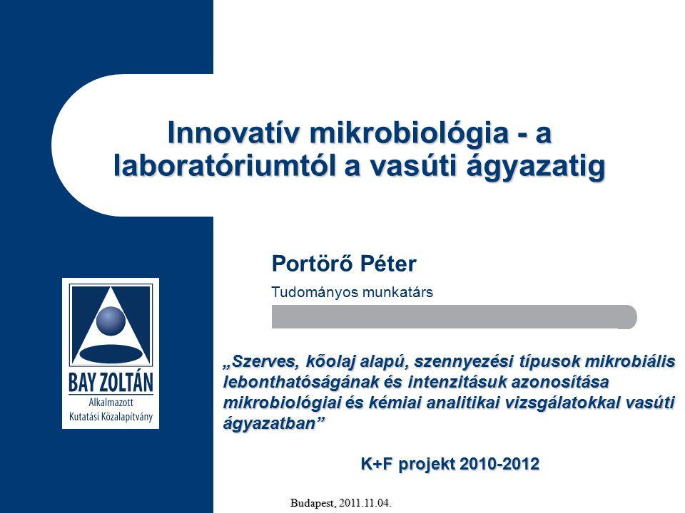 """Innovatív mikrobiológia - a laboratóriumtól a vasúti ágyazatig Budapest, 2011.11.04. Portörő Péter Tudományos munkatárs """"Szerves, kőolaj alapú, szenny"""