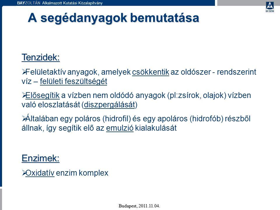 BAYZOLTÁN Alkalmazott Kutatási Közalapítvány Budapest, 2011.11.04. A segédanyagok bemutatása Tenzidek:  Felületaktív anyagok, amelyek csökkentik az o