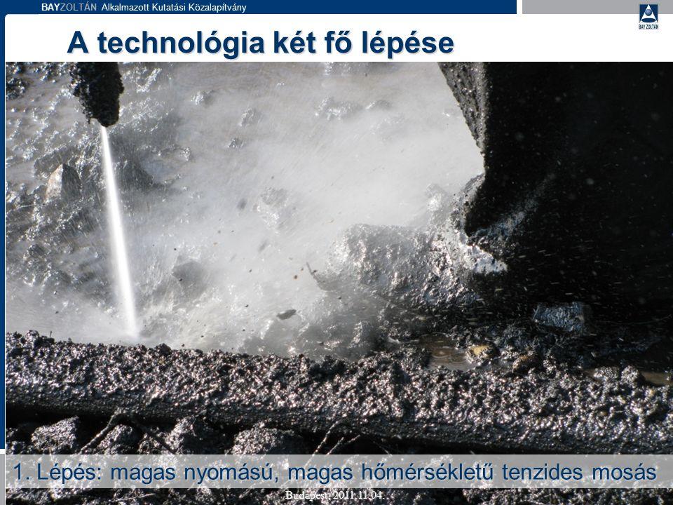 BAYZOLTÁN Alkalmazott Kutatási Közalapítvány A technológia két fő lépése Budapest, 2011.11.04. 1. Lépés: magas nyomású, magas hőmérsékletű tenzides mo