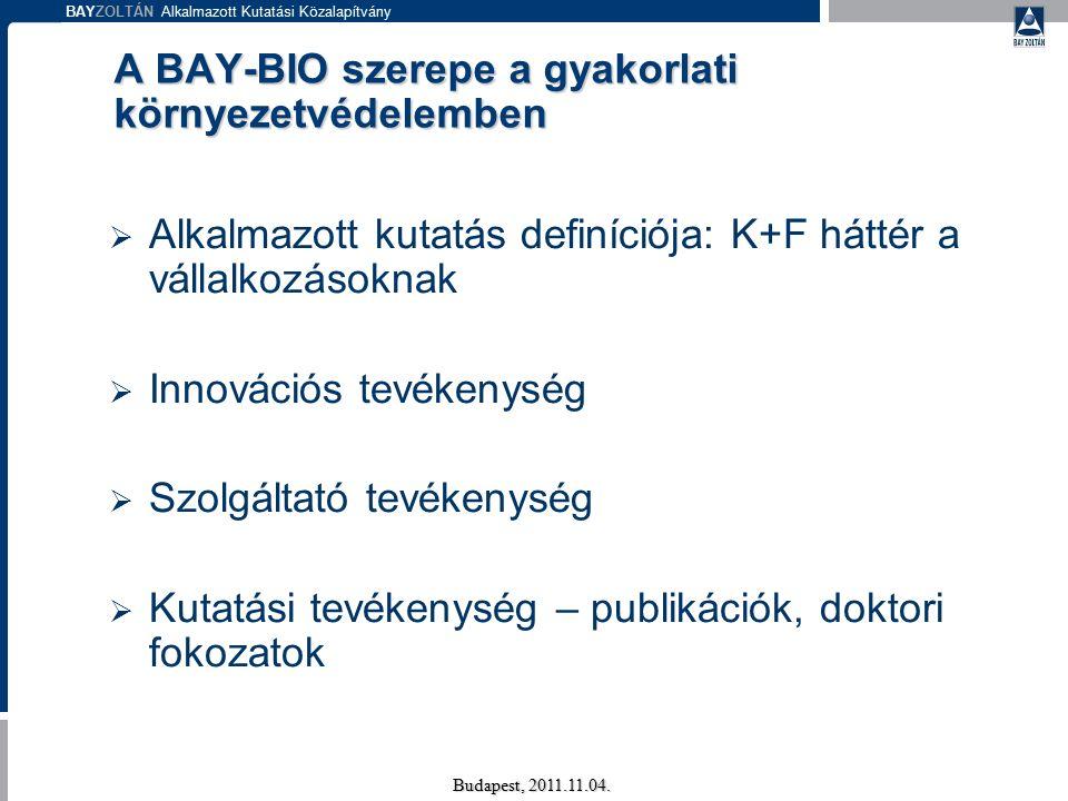 BAYZOLTÁN Alkalmazott Kutatási Közalapítvány Kiskunhalas Budapest, 2011.11.04.