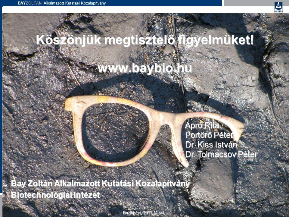 BAYZOLTÁN Alkalmazott Kutatási Közalapítvány Köszönjük megtisztelő figyelmüket! www.baybio.hu Bay Zoltán Alkalmazott Kutatási Közalapítvány Biotechnol
