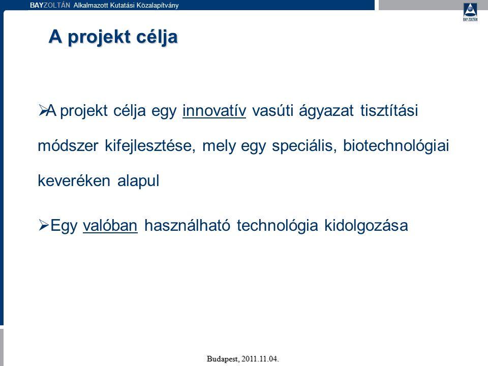 BAYZOLTÁN Alkalmazott Kutatási Közalapítvány Budapest, 2011.11.04. A projekt célja  A projekt célja egy innovatív vasúti ágyazat tisztítási módszer k