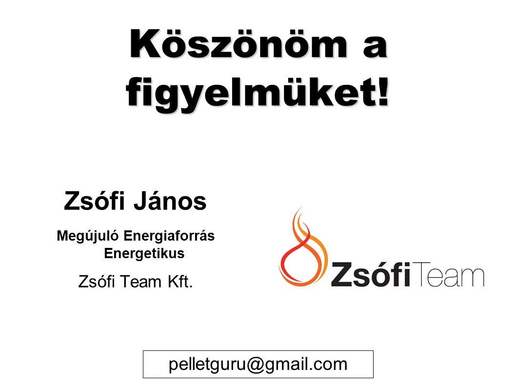 Köszönöm a figyelmüket. Zsófi János Megújuló Energiaforrás Energetikus Zsófi Team Kft.
