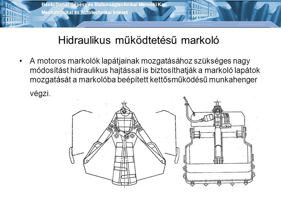 Hidraulikus működtetésű markoló A motoros markolók lapátjainak mozgatásához szükséges nagy módosítást hidraulikus hajtással is biztosíthatják a markoló lapátok mozgatását a markolóba beépített kettősműködésű munkahenger végzi.