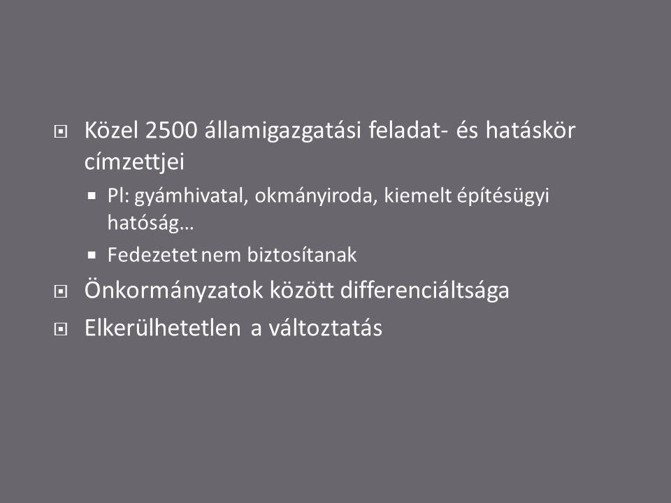  Közel 2500 államigazgatási feladat- és hatáskör címzettjei  Pl: gyámhivatal, okmányiroda, kiemelt építésügyi hatóság…  Fedezetet nem biztosítanak  Önkormányzatok között differenciáltsága  Elkerülhetetlen a változtatás