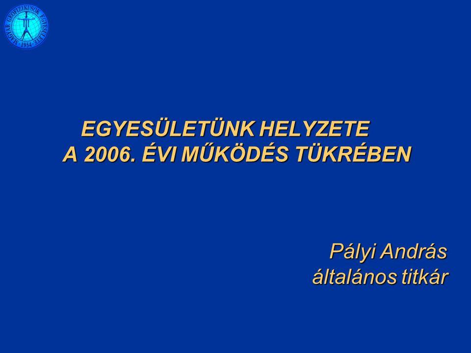 Pályi András általános titkár EGYESÜLETÜNK HELYZETE A 2006. ÉVI MŰKÖDÉS TÜKRÉBEN