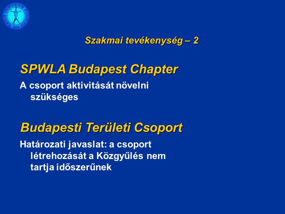 A csoport aktivitását növelni szükséges Szakmai tevékenység – 2 SPWLA Budapest Chapter Budapesti Területi Csoport Határozati javaslat: a csoport létrehozását a Közgyűlés nem tartja időszerűnek