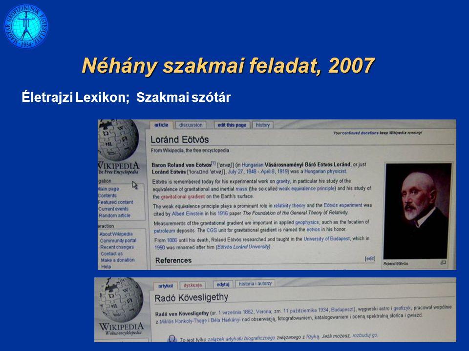 Életrajzi Lexikon; Szakmai szótár Néhány szakmai feladat, 2007