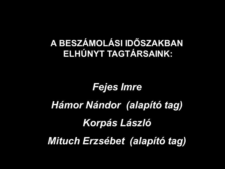 A BESZÁMOLÁSI IDŐSZAKBAN ELHÚNYT TAGTÁRSAINK: Fejes Imre Hámor Nándor (alapító tag) Korpás László Mituch Erzsébet (alapító tag)