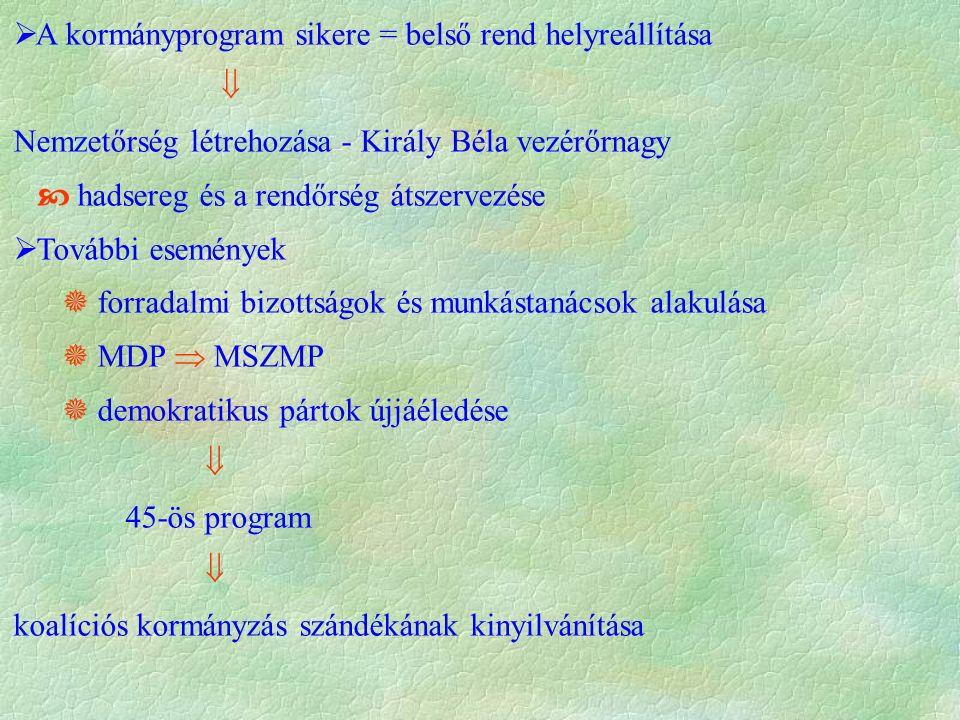  A kormányprogram sikere = belső rend helyreállítása  Nemzetőrség létrehozása - Király Béla vezérőrnagy  hadsereg és a rendőrség átszervezése  További események  forradalmi bizottságok és munkástanácsok alakulása  MDP  MSZMP  demokratikus pártok újjáéledése  45-ös program  koalíciós kormányzás szándékának kinyilvánítása
