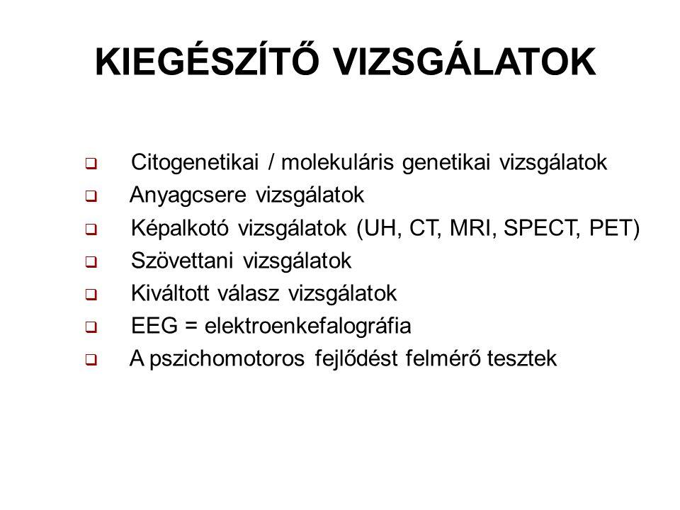 KIEGÉSZÍTŐ VIZSGÁLATOK  Citogenetikai / molekuláris genetikai vizsgálatok  Anyagcsere vizsgálatok  Képalkotó vizsgálatok (UH, CT, MRI, SPECT, PET)  Szövettani vizsgálatok  Kiváltott válasz vizsgálatok  EEG = elektroenkefalográfia  A pszichomotoros fejlődést felmérő tesztek