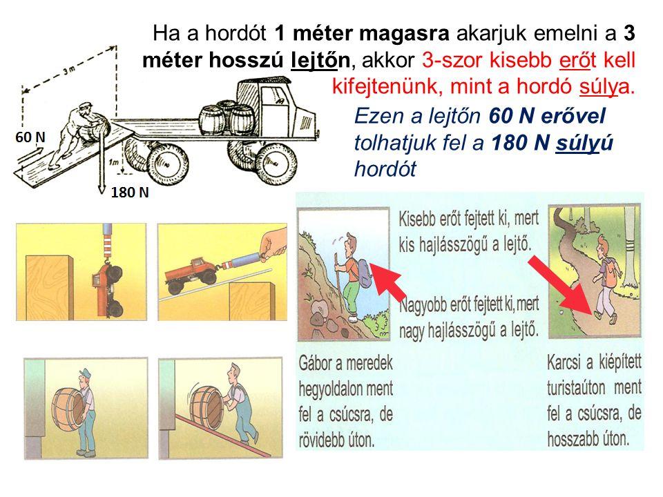 Ha a hordót 1 méter magasra akarjuk emelni a 3 méter hosszú lejtőn, akkor 3-szor kisebb erőt kell kifejtenünk, mint a hordó súlya.