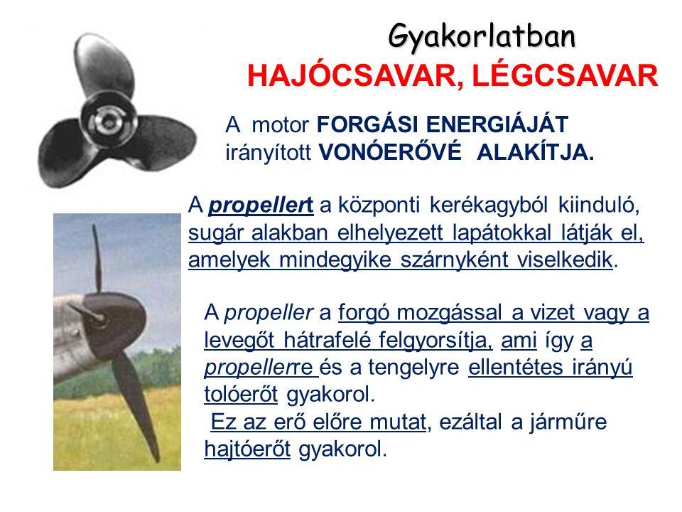HAJÓCSAVAR, LÉGCSAVAR Gyakorlatban A propeller a forgó mozgással a vizet vagy a levegőt hátrafelé felgyorsítja, ami így a propellerre és a tengelyre ellentétes irányú tolóerőt gyakorol.