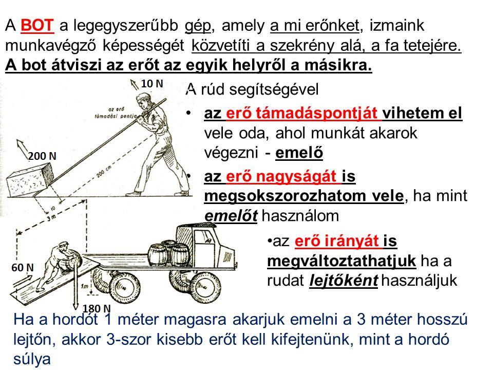 A BOT a legegyszerűbb gép, amely a mi erőnket, izmaink munkavégző képességét közvetíti a szekrény alá, a fa tetejére.