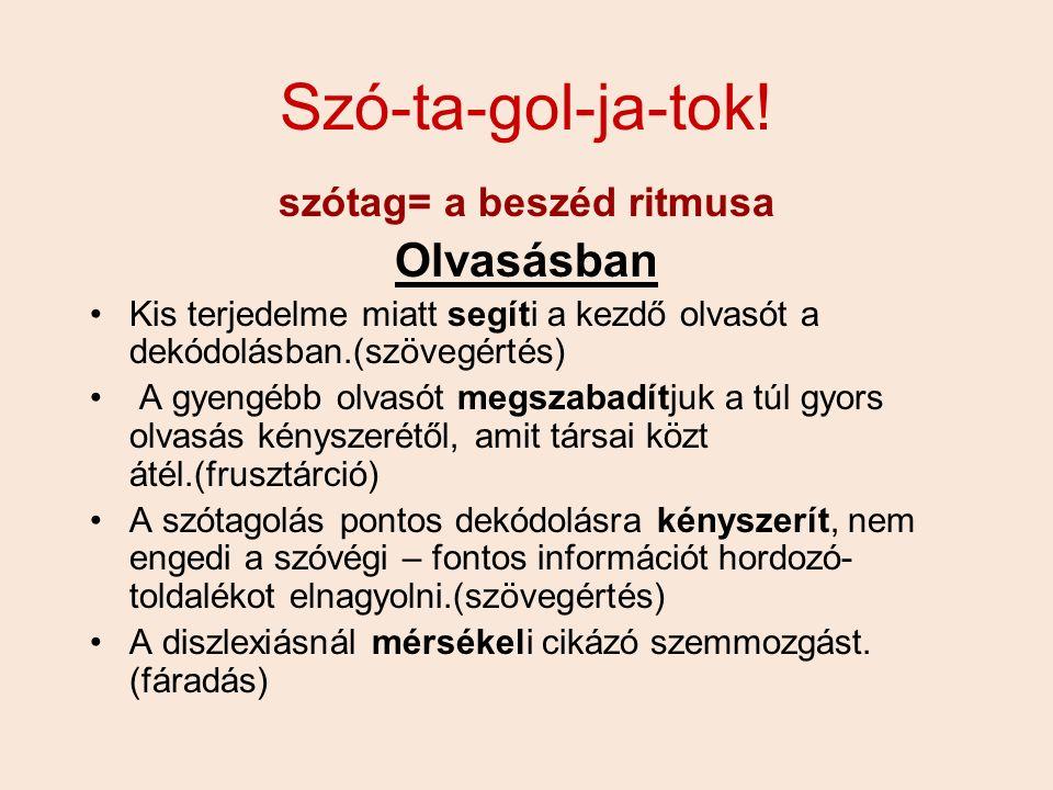 Szó-ta-gol-ja-tok! szótag= a beszéd ritmusa Olvasásban Kis terjedelme miatt segíti a kezdő olvasót a dekódolásban.(szövegértés) A gyengébb olvasót meg