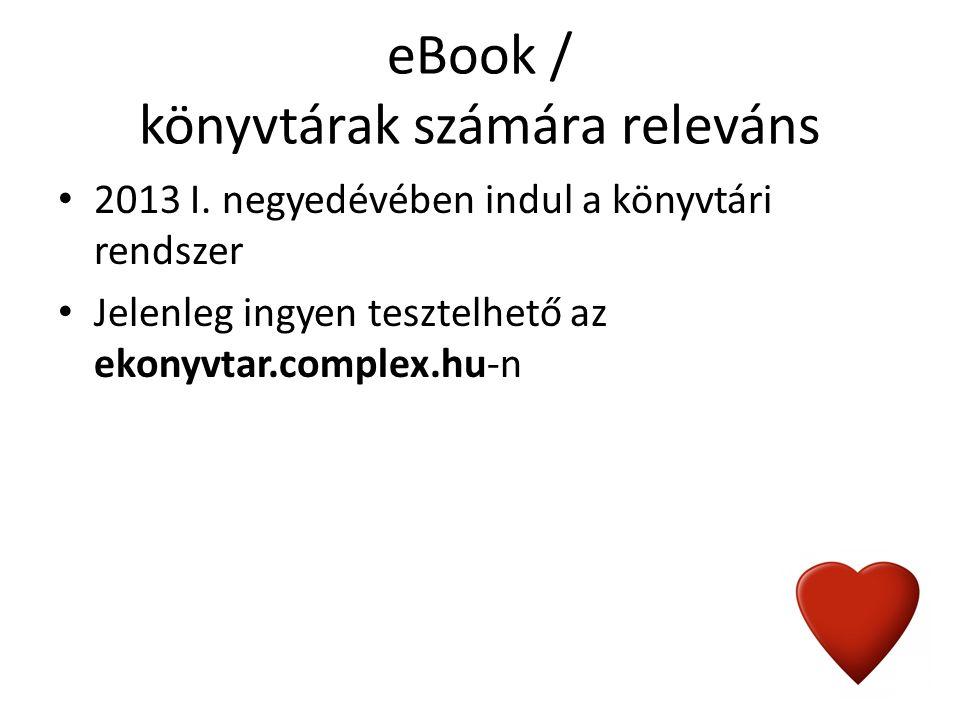 eBook / könyvtárak számára releváns 2013 I.