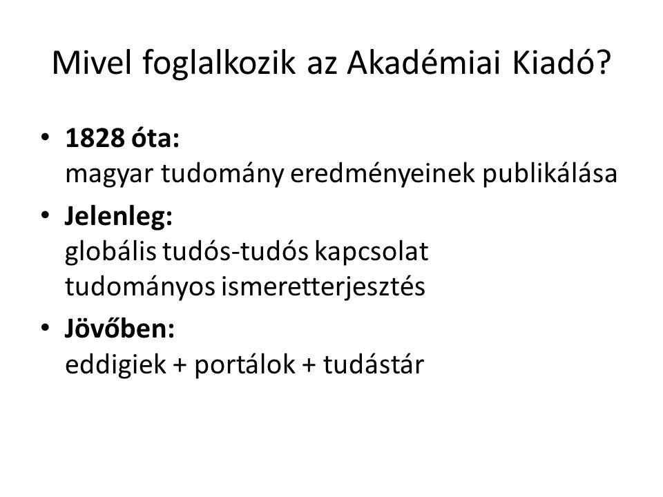 Mivel foglalkozik az Akadémiai Kiadó.