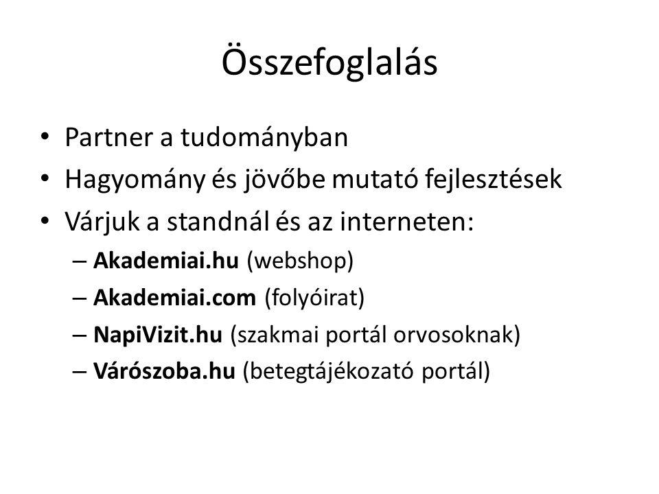 Összefoglalás Partner a tudományban Hagyomány és jövőbe mutató fejlesztések Várjuk a standnál és az interneten: – Akademiai.hu (webshop) – Akademiai.com (folyóirat) – NapiVizit.hu (szakmai portál orvosoknak) – Várószoba.hu (betegtájékozató portál)
