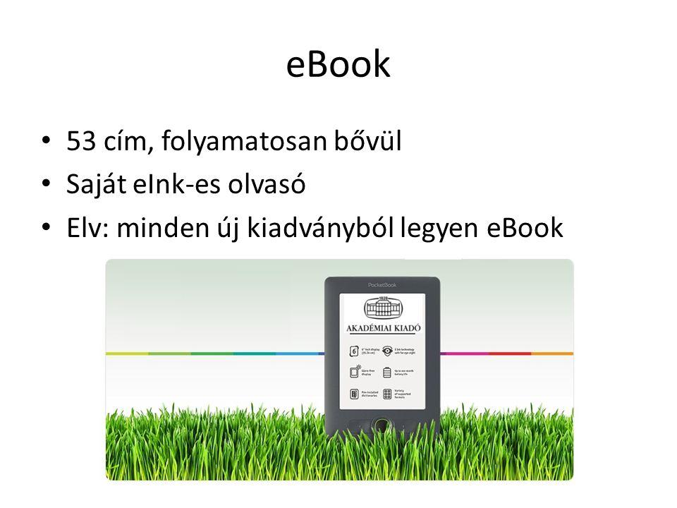 eBook 53 cím, folyamatosan bővül Saját eInk-es olvasó Elv: minden új kiadványból legyen eBook