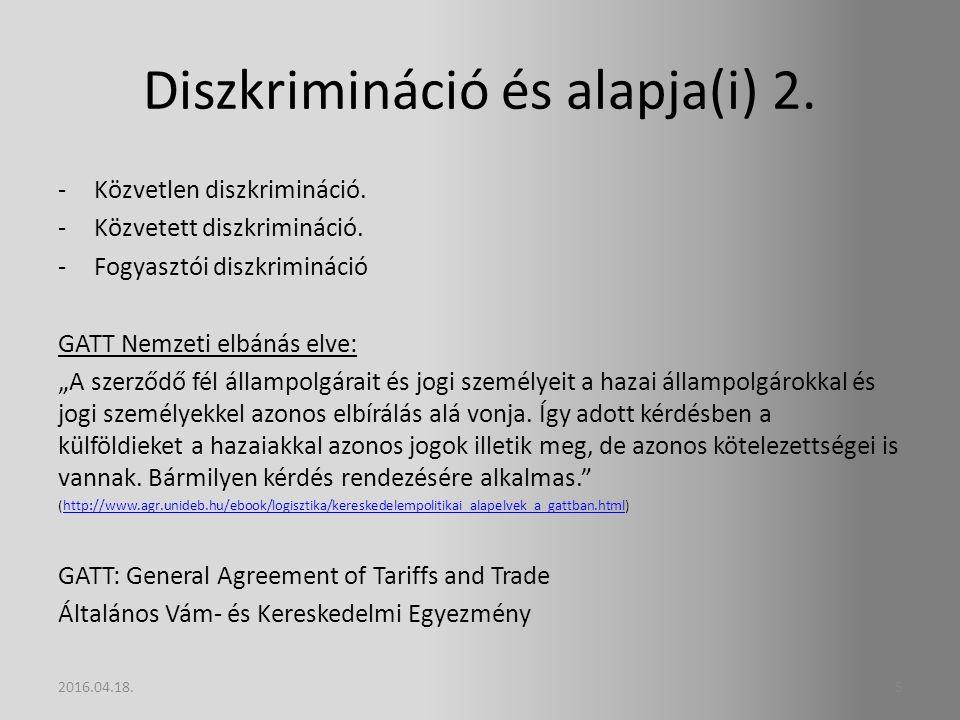 Diszkrimináció és alapja(i) 2.-Közvetlen diszkrimináció.