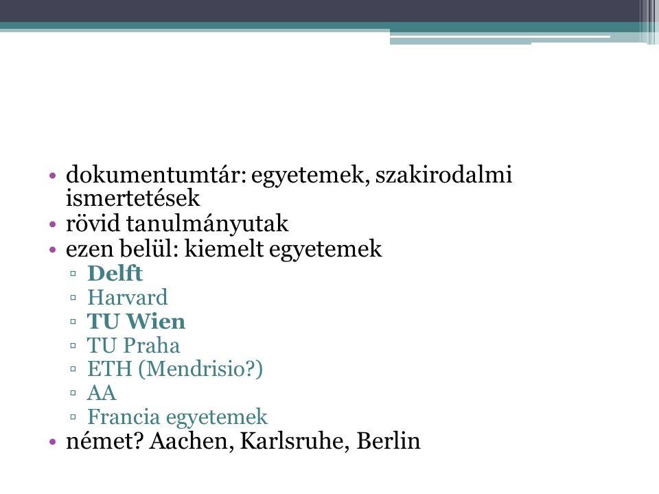 dokumentumtár: egyetemek, szakirodalmi ismertetések rövid tanulmányutak ezen belül: kiemelt egyetemek ▫Delft ▫Harvard ▫TU Wien ▫TU Praha ▫ETH (Mendrisio ) ▫AA ▫Francia egyetemek német.