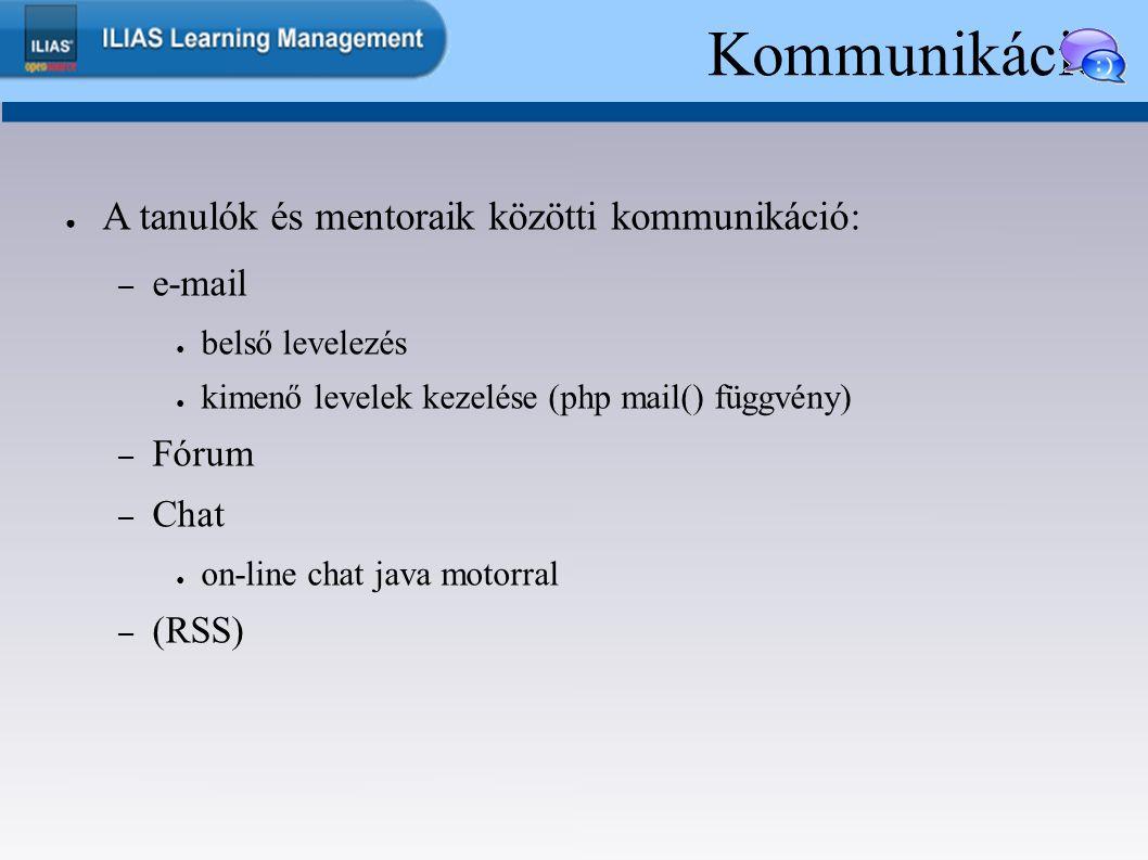 Kommunikáció ● A tanulók és mentoraik közötti kommunikáció: – e-mail ● belső levelezés ● kimenő levelek kezelése (php mail() függvény) – Fórum – Chat ● on-line chat java motorral – (RSS)