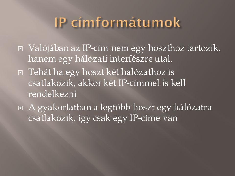  Valójában az IP-cím nem egy hoszthoz tartozik, hanem egy hálózati interfészre utal.
