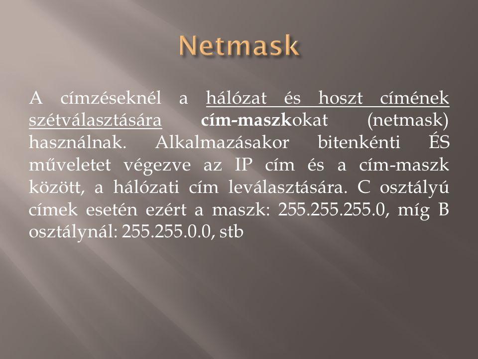 A címzéseknél a hálózat és hoszt címének szétválasztására cím-maszk okat (netmask) használnak.