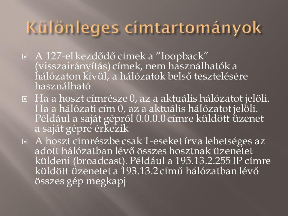  A 127-el kezdődő címek a loopback (visszairányítás) címek, nem használhatók a hálózaton kívül, a hálózatok belső tesztelésére használható  Ha a hoszt címrésze 0, az a aktuális hálózatot jelöli.