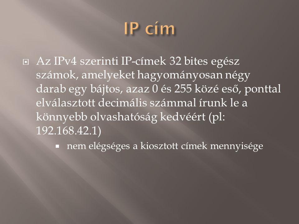  Az IPv4 szerinti IP-címek 32 bites egész számok, amelyeket hagyományosan négy darab egy bájtos, azaz 0 és 255 közé eső, ponttal elválasztott decimális számmal írunk le a könnyebb olvashatóság kedvéért (pl: 192.168.42.1)  nem elégséges a kiosztott címek mennyisége