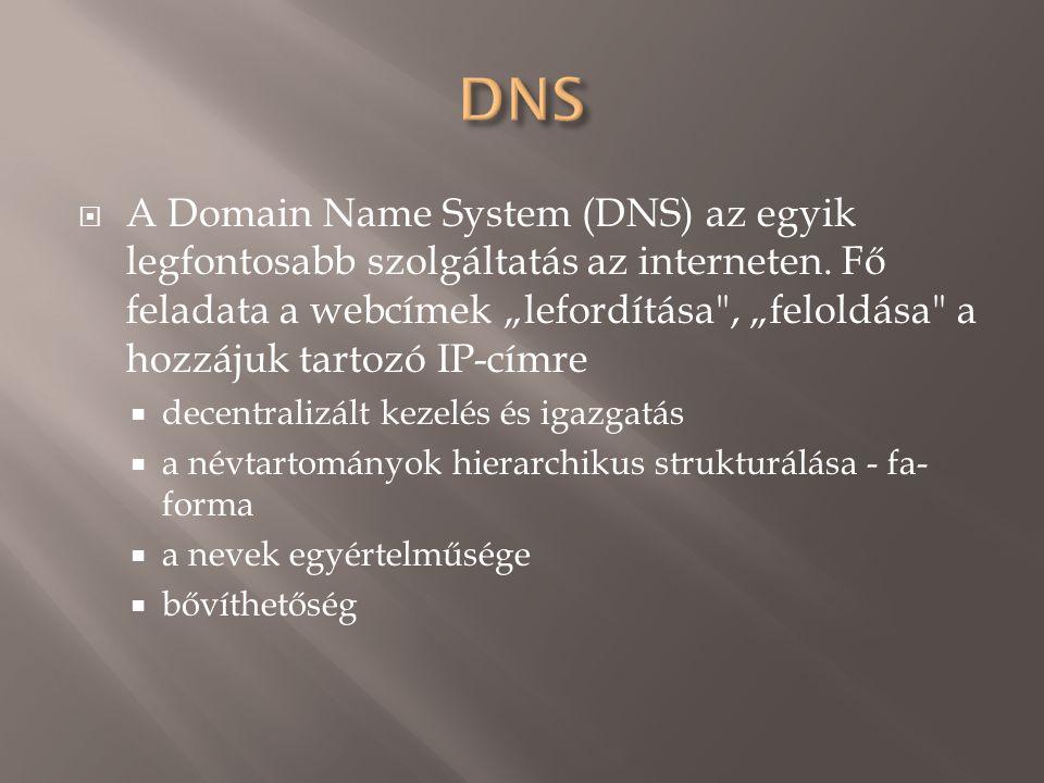 A Domain Name System (DNS) az egyik legfontosabb szolgáltatás az interneten.