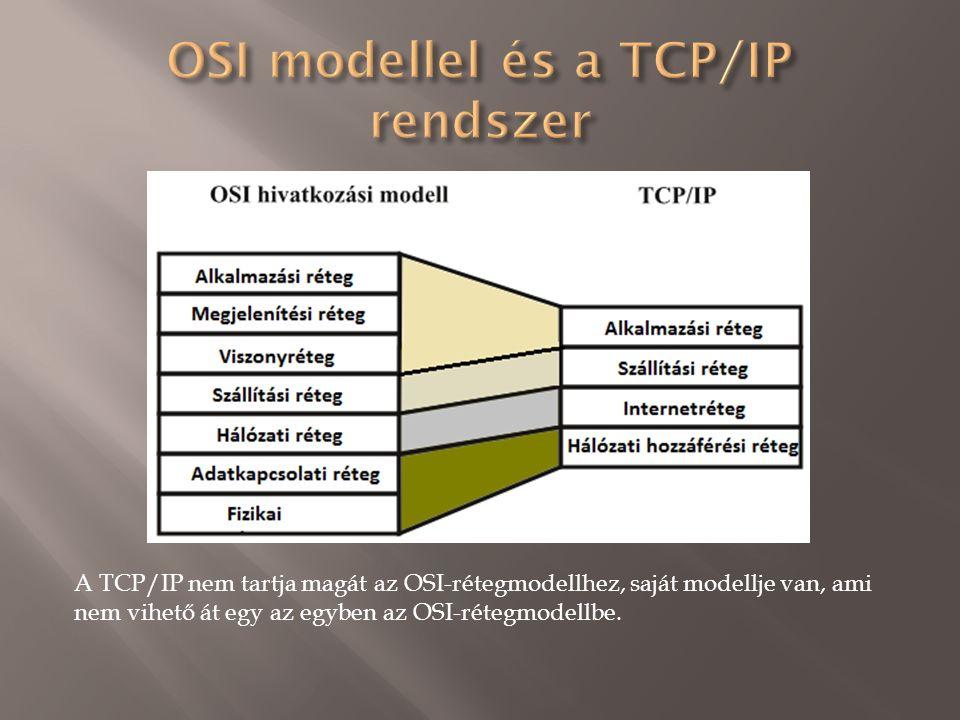 A TCP/IP nem tartja magát az OSI-rétegmodellhez, saját modellje van, ami nem vihető át egy az egyben az OSI-rétegmodellbe.