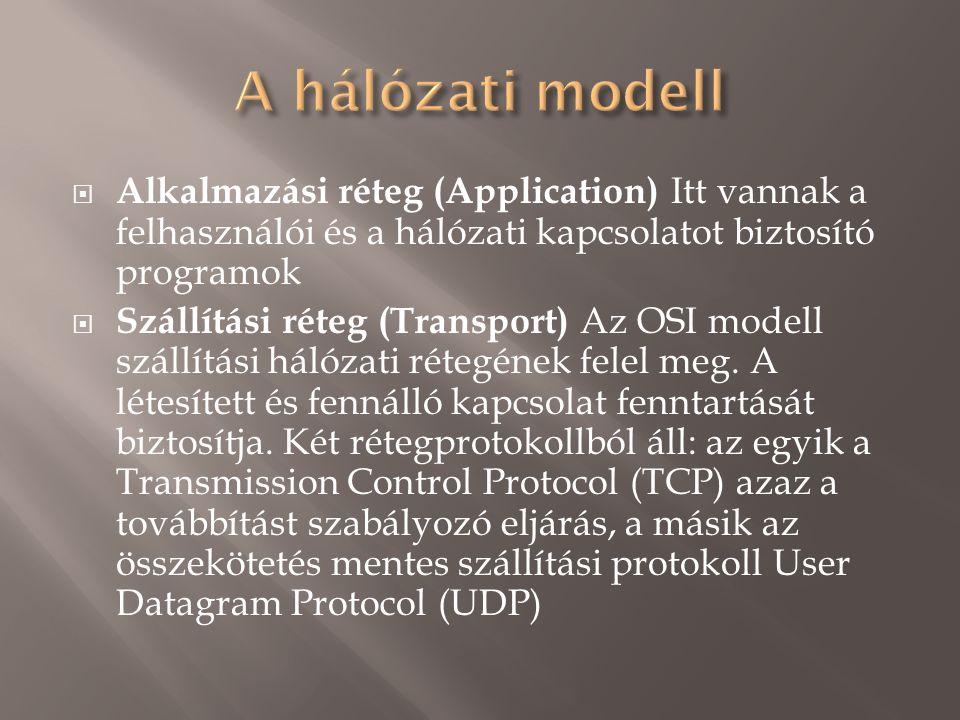  Alkalmazási réteg (Application) Itt vannak a felhasználói és a hálózati kapcsolatot biztosító programok  Szállítási réteg (Transport) Az OSI modell szállítási hálózati rétegének felel meg.