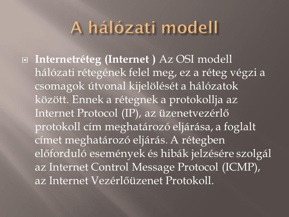  Internetréteg (Internet ) Az OSI modell hálózati rétegének felel meg, ez a réteg végzi a csomagok útvonal kijelölését a hálózatok között.
