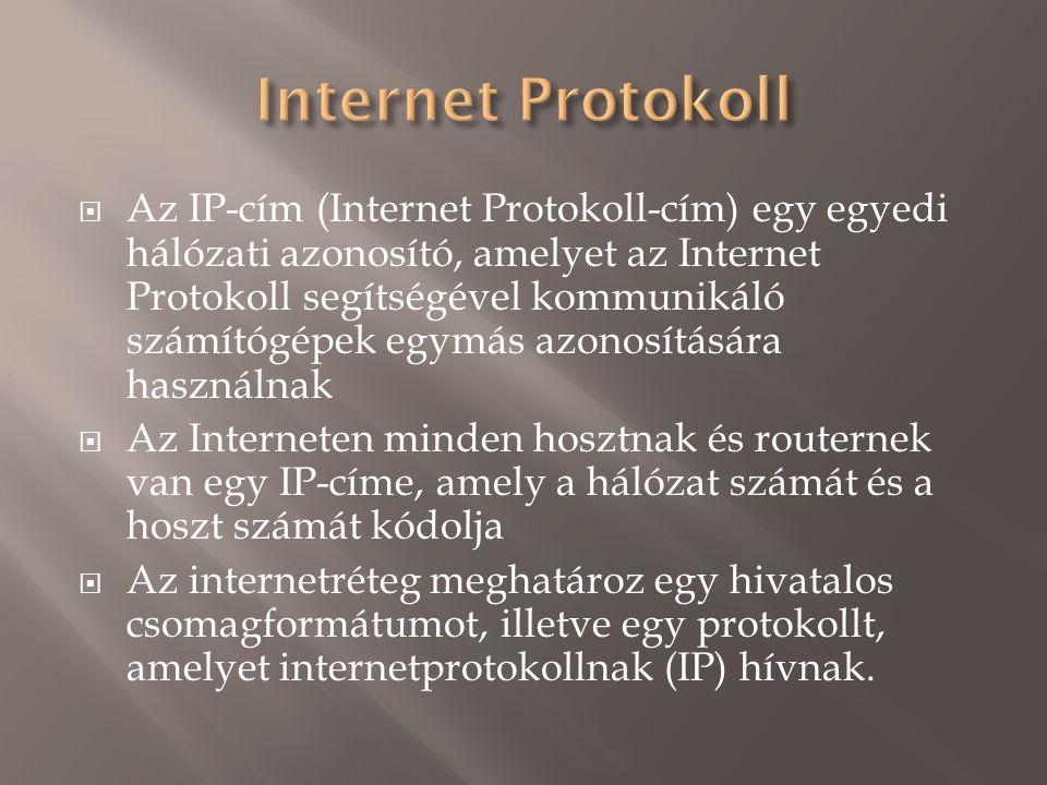  Az IP-cím (Internet Protokoll-cím) egy egyedi hálózati azonosító, amelyet az Internet Protokoll segítségével kommunikáló számítógépek egymás azonosítására használnak  Az Interneten minden hosztnak és routernek van egy IP-címe, amely a hálózat számát és a hoszt számát kódolja  Az internetréteg meghatároz egy hivatalos csomagformátumot, illetve egy protokollt, amelyet internetprotokollnak (IP) hívnak.